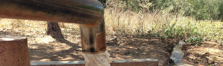 Water flows in drought stricken Tharaka, Kenya.